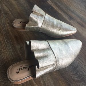 Free People Sienna Leather Ruffle Gold Mules